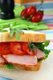 Sandwich with ham and fresh vegetables Royalty Free Stock Photography