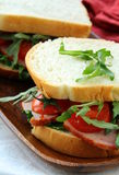 Sandwich with ham and fresh vegetables Stock Photos