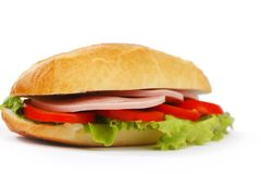 Sandwich with ham and fresh vegetables Stock Images