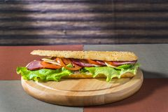 Sandwich with ham and fresh vegetables royalty free stock photos