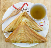Sandwich ham and hot tea. Sandwich ham and hot chinese tea Royalty Free Stock Photography