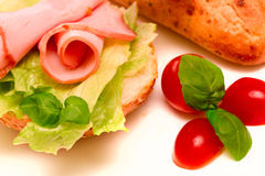Sandwich with ham and lettuce. Delicious sandwich with ham (shallow dof Royalty Free Stock Photo