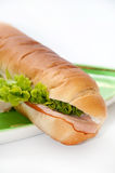Sandwich with ham and letuce on the green plate Stock Images