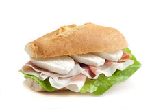 Sandwich with ham and mozzarella Royalty Free Stock Photo