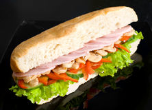 Sandwich with ham and mushrooms Royalty Free Stock Images