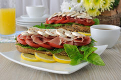 Sandwich with ham and mushrooms Stock Photo