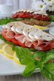 Sandwich with ham and mushrooms Royalty Free Stock Photography
