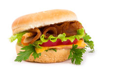 Sandwich with a ham, paprika and cheese isolated Stock Photography