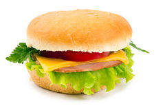 Sandwich with a ham, paprika and cheese isolated Stock Images