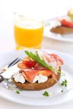 Sandwich with ham, peach and goat cheese Royalty Free Stock Image