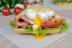 Sandwich with ham and poached egg Stock Photo