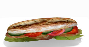Sandwich with ham. Sandwich stuffed with ham, lettuce, cucumbers and tomato on white background, 3d Rendering vector illustration