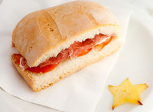 Sandwich with  ham and tomato. Stock Photography