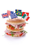 Sandwich with ham and tomato Royalty Free Stock Images