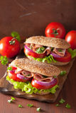 Sandwich with ham tomato and lettuce Royalty Free Stock Photos