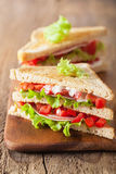 Sandwich with ham tomato and lettuce Stock Image