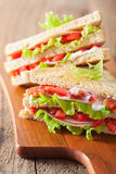 Sandwich with ham tomato and lettuce Stock Photo