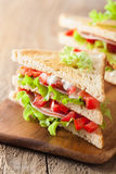 Sandwich with ham tomato and lettuce Royalty Free Stock Images
