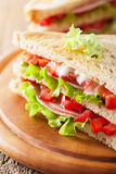 Sandwich with ham tomato and lettuce Stock Photos