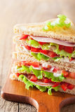 Sandwich with ham tomato and lettuce Stock Photography