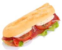 Sandwich with ham, tomato and mozzarella Stock Photography