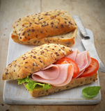 Sandwich with ham and tomatoes Stock Photography
