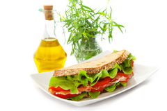 Sandwich with ham, tomatoes and salad Stock Photo
