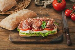 Sandwich with ham and vegetable stock photos