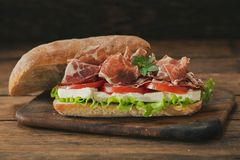 Sandwich with ham and vegetable royalty free stock photos