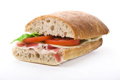 Sandwich with ham and vegetables Royalty Free Stock Image