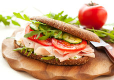 Sandwich with ham and vegetables Stock Images