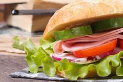 Sandwich with ham and vegetables on a background of books stock photos