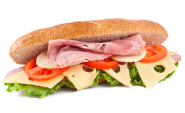 Sandwich with Ham, Vegetables and Cheese Royalty Free Stock Image