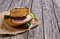Sandwich with ham and vegetables Royalty Free Stock Images
