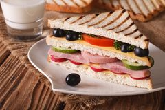Sandwich with ham and vegetables on the plate and milk Stock Photo