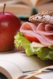 Sandwich with ham and vegetables and red apple vertical Royalty Free Stock Photos