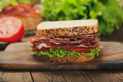 Sandwich with ham and vegetables stock photo