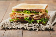 Sandwich with ham and vegetables stock image