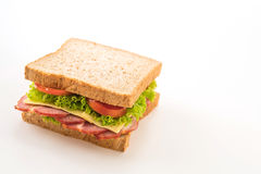 Sandwich ham on white. Background royalty free stock photography