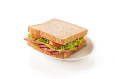 Sandwich ham on white Stock Images