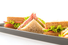Sandwich ham on white Royalty Free Stock Photo