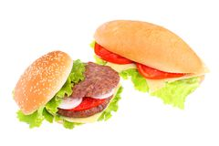Sandwich and hamburger. On white Royalty Free Stock Images