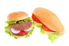 Sandwich and hamburger Royalty Free Stock Images