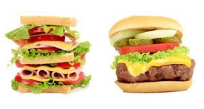 Sandwich and hamburger close up. Royalty Free Stock Photography