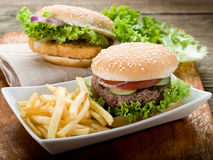 Sandwich with hamburger and fried Stock Photo