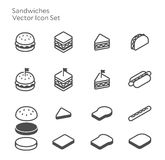 Sandwich Hamburger Hotdog Vector Icon Set. Grab and go food line icon Royalty Free Stock Photo