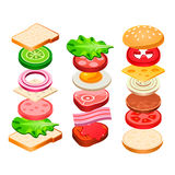 Sandwich and Hamburger Ingredients Set Stock Images