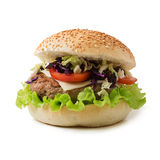 Sandwich hamburger with juicy burgers, cheese Royalty Free Stock Photos