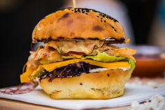 Sandwich hamburger with juicy burgers cheese and mix of vegetables Stock Images