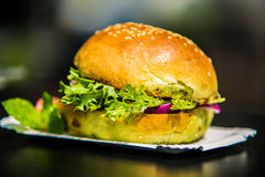 Sandwich hamburger with and mix of vegetables Royalty Free Stock Photography
